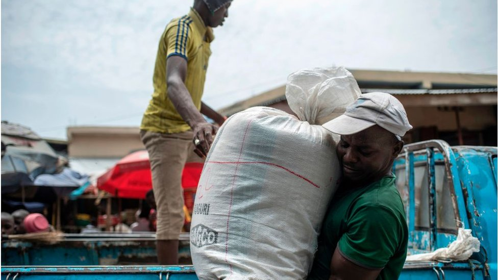 Rice brought to a market in Nigeria for sale