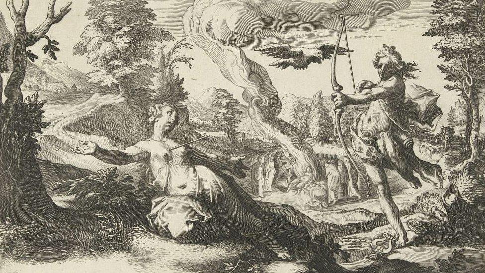 Apolo hiriendo con una flecha a la embarazada Coronis, con el cuervo -aún blanco- que denunció su adulterio volando cerca al dios, A la izquierda está la cremación de Coronis imaginada por los artistas del taller de Hendrick Goltzius en este grabado que data de 1590.
