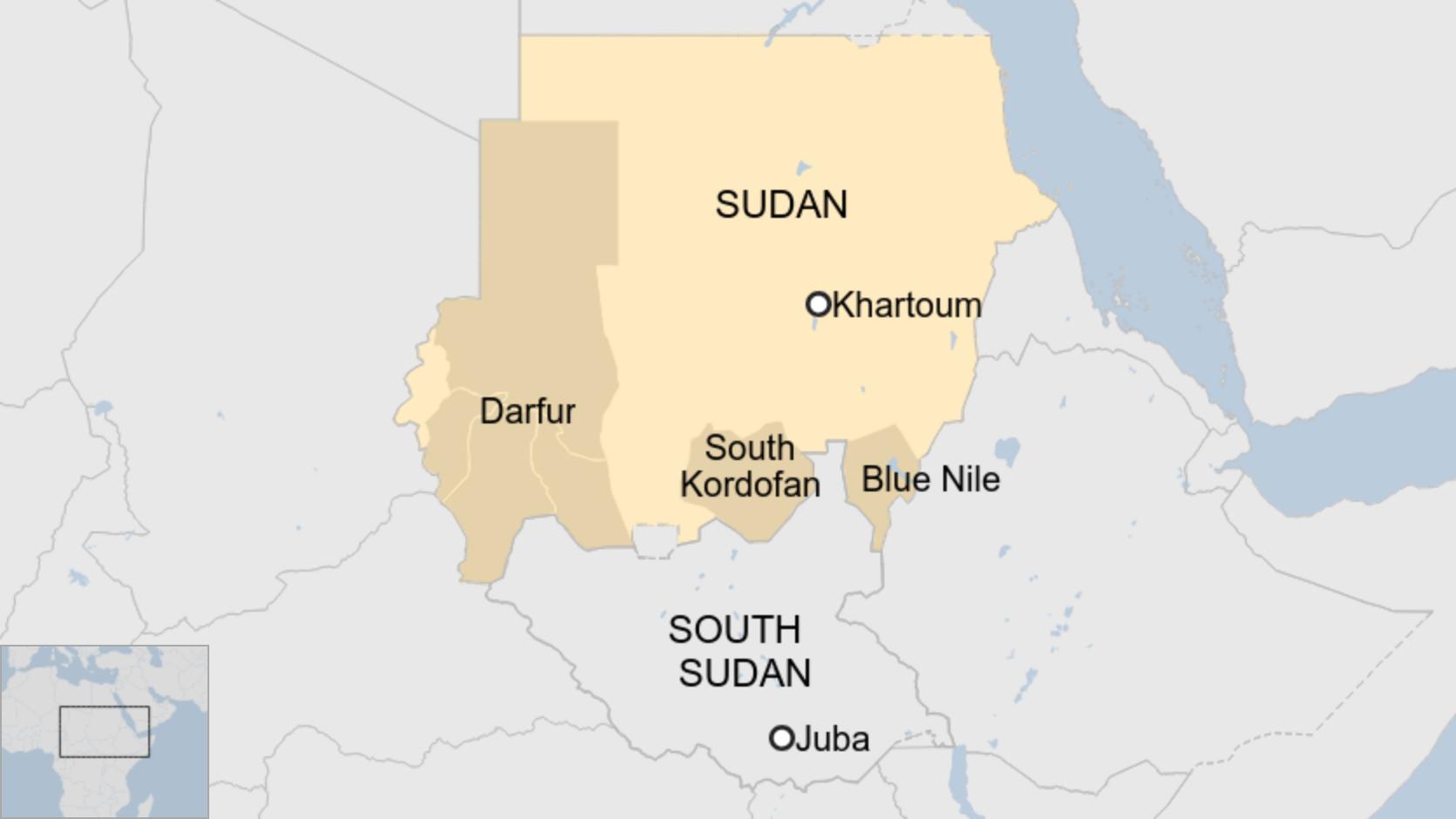 Mapa de Sudán con Darfur, Kordofán del Sur y Nilo Azul