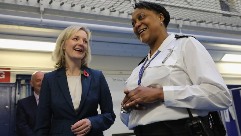 Justice Secretary Liz Truss and HMP Brixton custodial manager Wendy-Fisher Mcfarlane