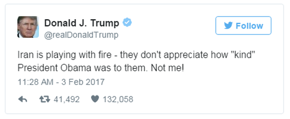 """A tweet from US President Trump reads: """"Iran is playing with fire - they don't appreciate how """"kind"""" President Obama was to them. Not me!"""""""