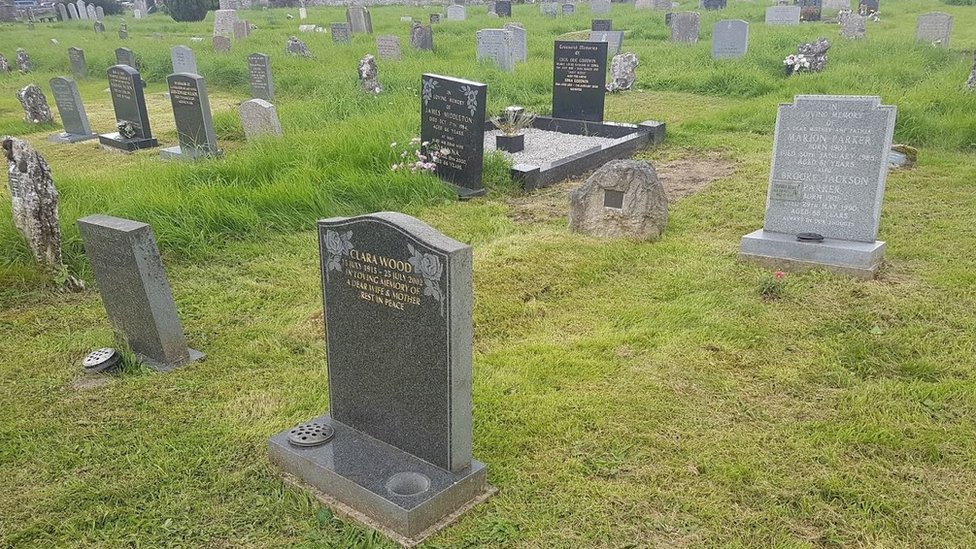 The woman's burial plot
