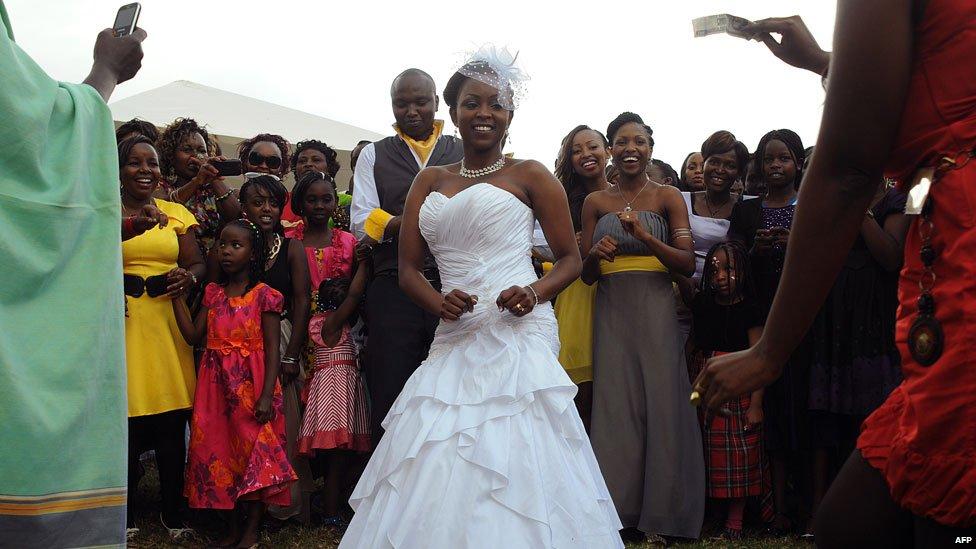 A Kenyan couple at their wedding in Nairobi, Kenya