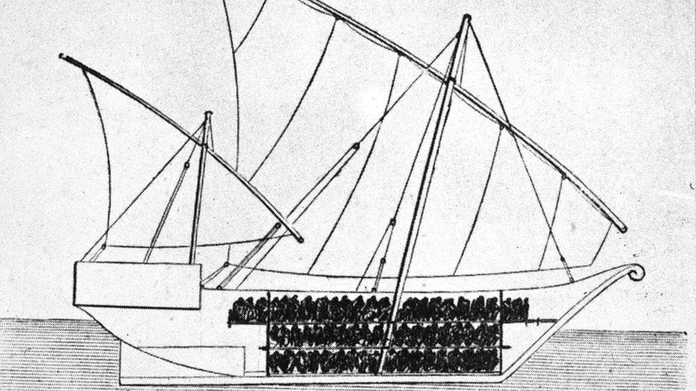 Dibujo de un barco usado para transporte de esclavos en la década de 1750.