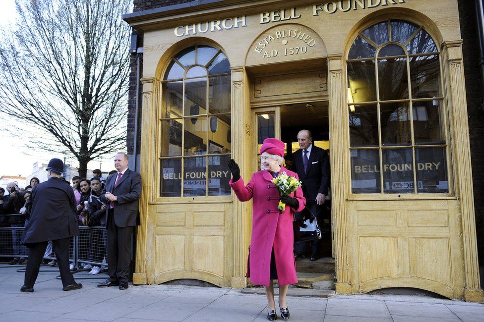 Queen outside Whitechapel Bell Foundry