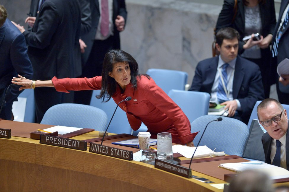 US Ambassador to the UN and current UN Security Council President Nikki Haley arrives for a UN Security Council meeting on Syria, 7 April