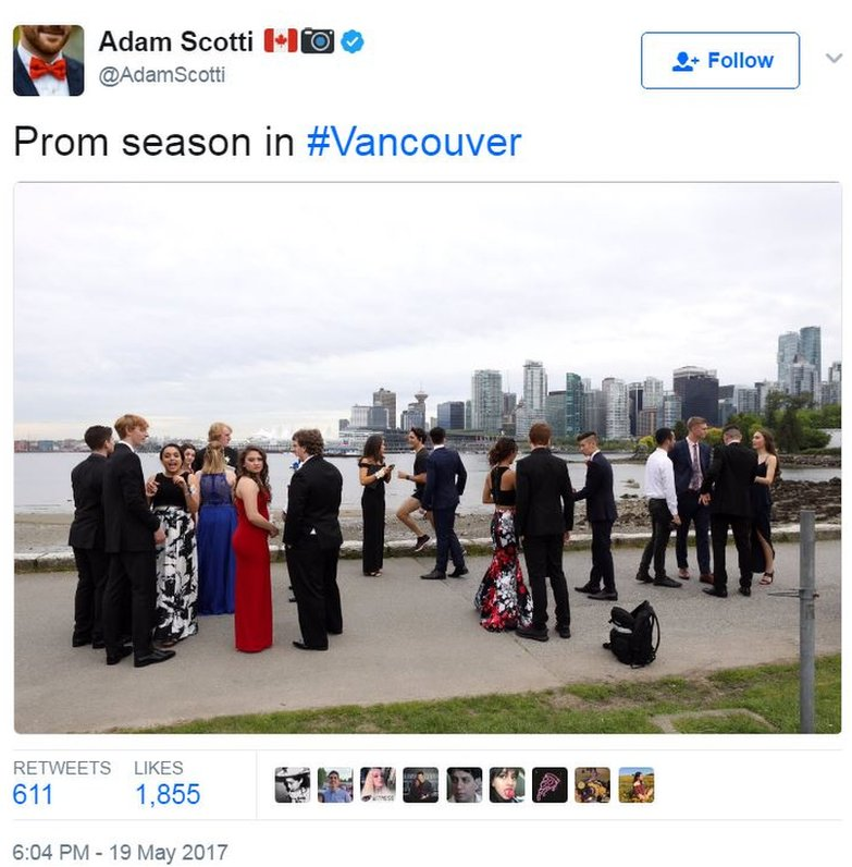 """Justin Trudeau's official photographer tweeted a picture of him jogging past students in full prom regalia, captioned: """"Prom season in #Vancouver"""""""