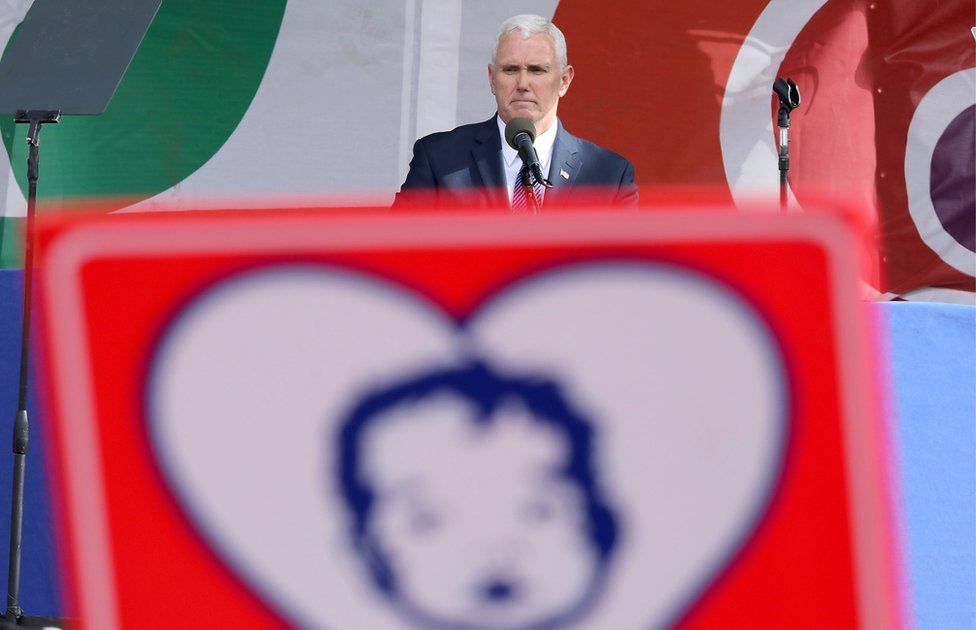 Vice President Mike Pence addresses a rally on the National Mall before the start of the 44th annual March for Life January 27, 2017 in Washington, DC