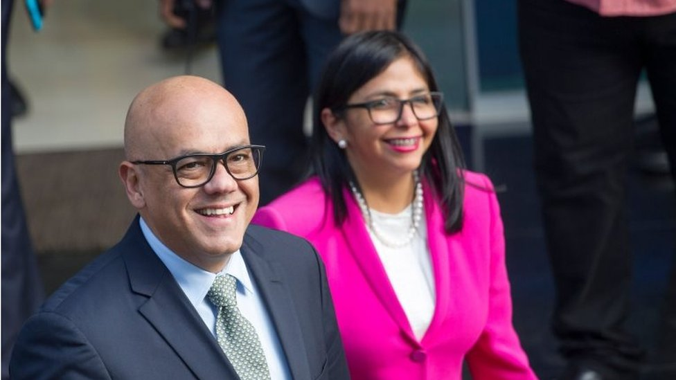 Venezuelan Minister of Communication and Information Jorge Rodriguez (L), and the president of the Constitutional Assembly of Venezuela Delcy Rodriguez arrive at the Dominican Foreign Ministry's headquarters, in Santo Domingo, Dominican Republic, on February 6, 2018