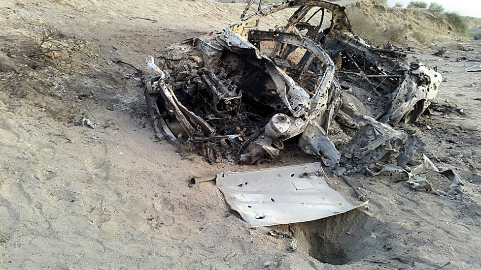 "Image purporting to show the destroyed vehicle in which Afghan Taliban chief Mullah Mohammad Akhtar Mansour was traveling near Afghanistan""s border when it was blown up."