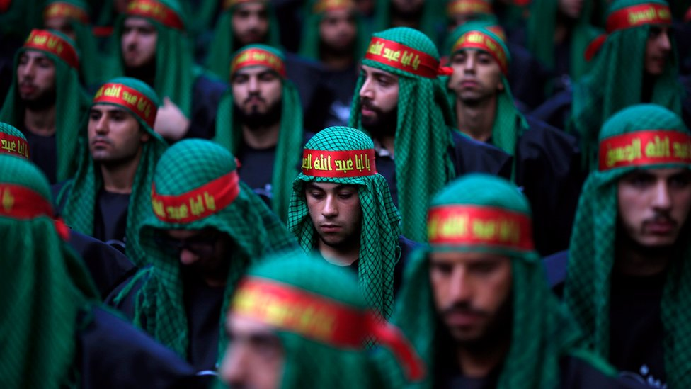 Lebanese Shia supporters of Hezbollah listen to the story of Imam Hussein in Beirut