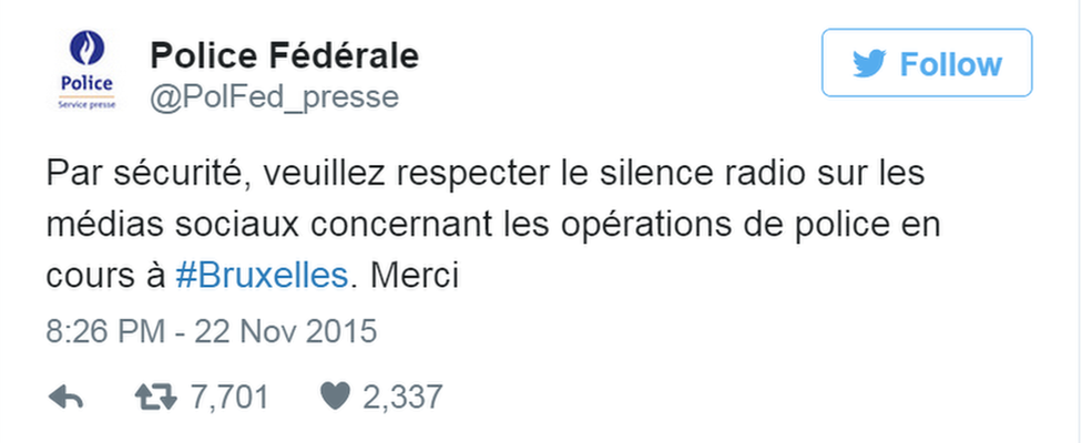 Police tweet asking people to refrain from tweeting operational details