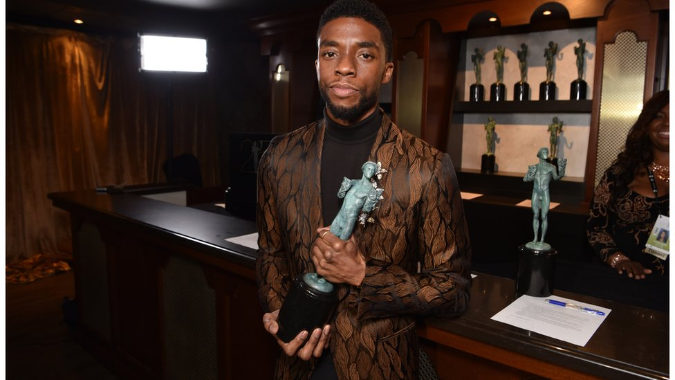Chadwick Boseman, who plays T'Challa in the film, with his SAG award