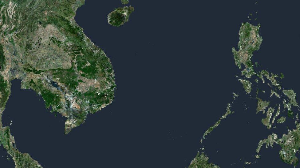 Imagen satelital del Mar de China Meridional.