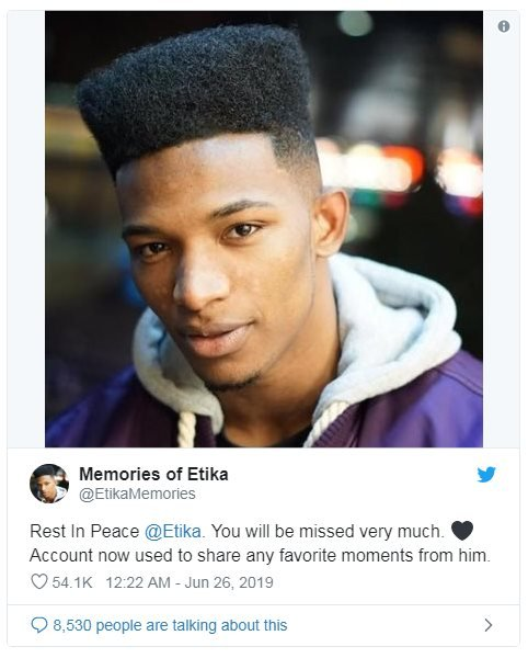 Picture of Etika, tweeted with the words: Rest In Peace @Etika. You will be missed very much. Account now used to share any favourite moments from him.