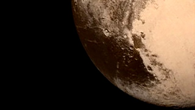 Detail of Nasa photograph of Pluto taken by New Horizons spacecraft