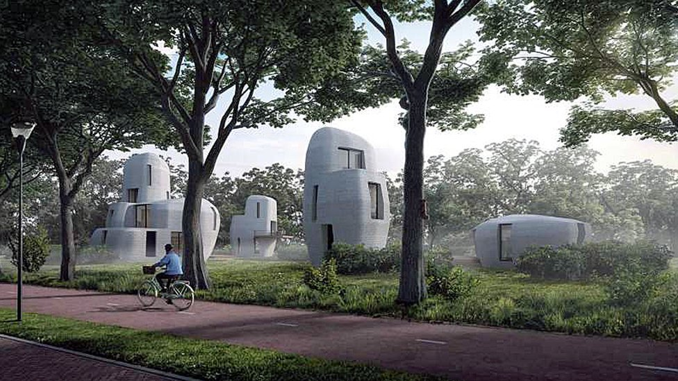 Artist's impression of 3D-printed concrete houses in Eindhoven