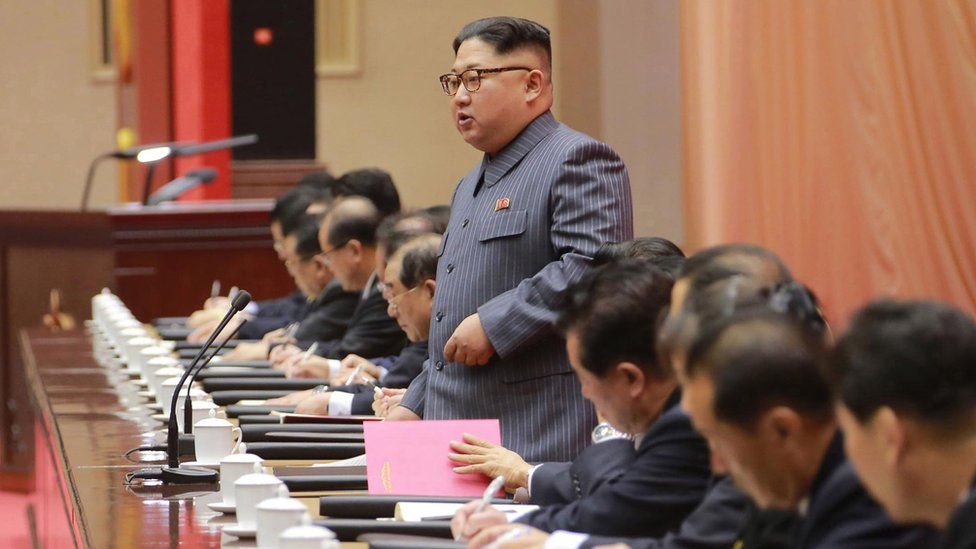 North Korean leader Kim Jong-un addresses 5th Conference of the Workers' Party of Korea Cell Chairpersons. 23 Dec 2017