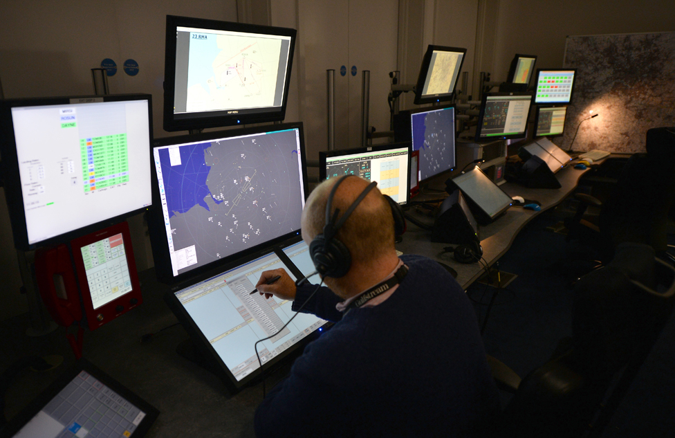 Air traffic controllers at work in Manchester Airport