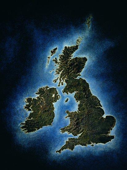 Mapa de Irlanda y Reino Unido