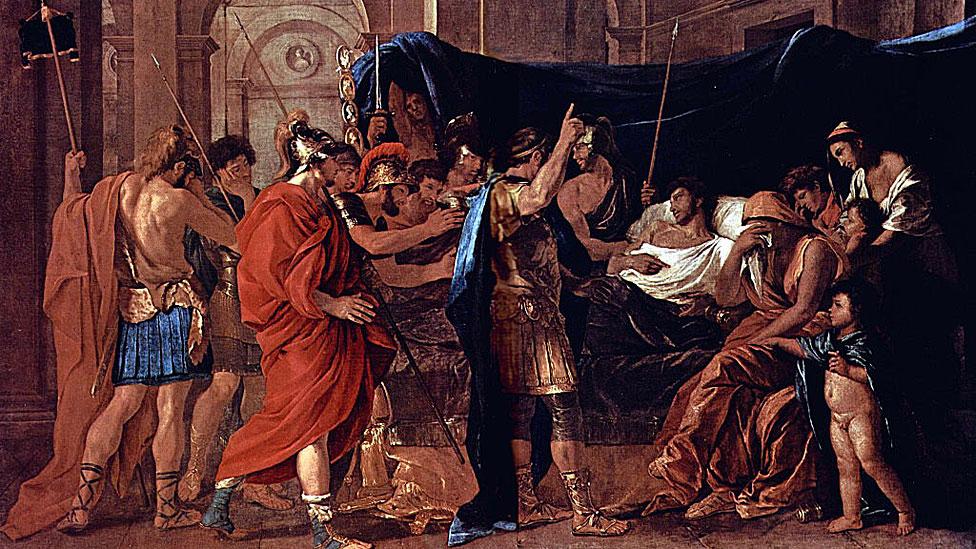 La muerte de Germánico por Nicolas Poussin 1627.