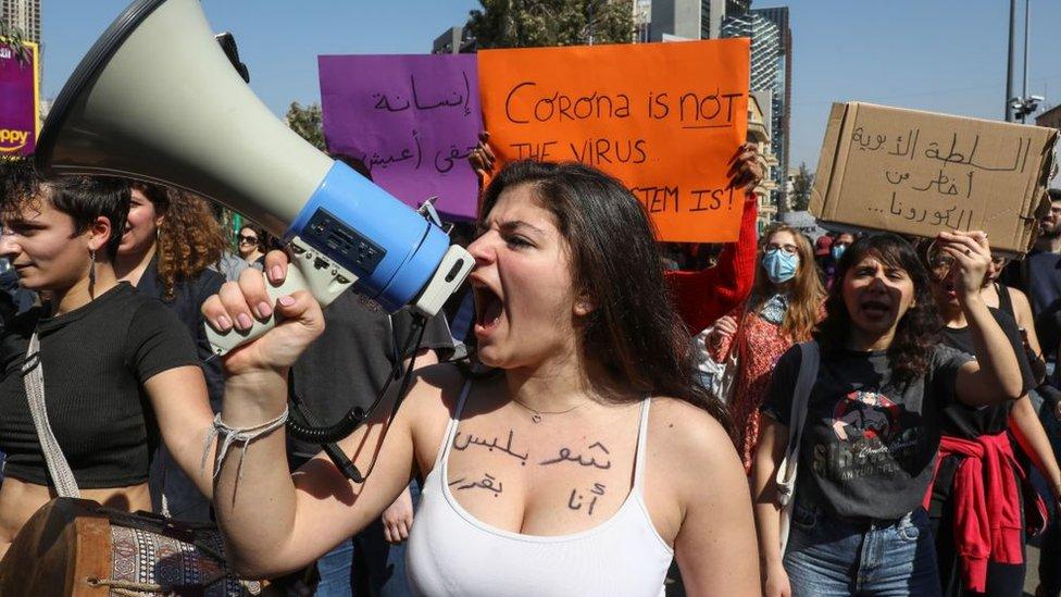 Una manifestación en Líbano