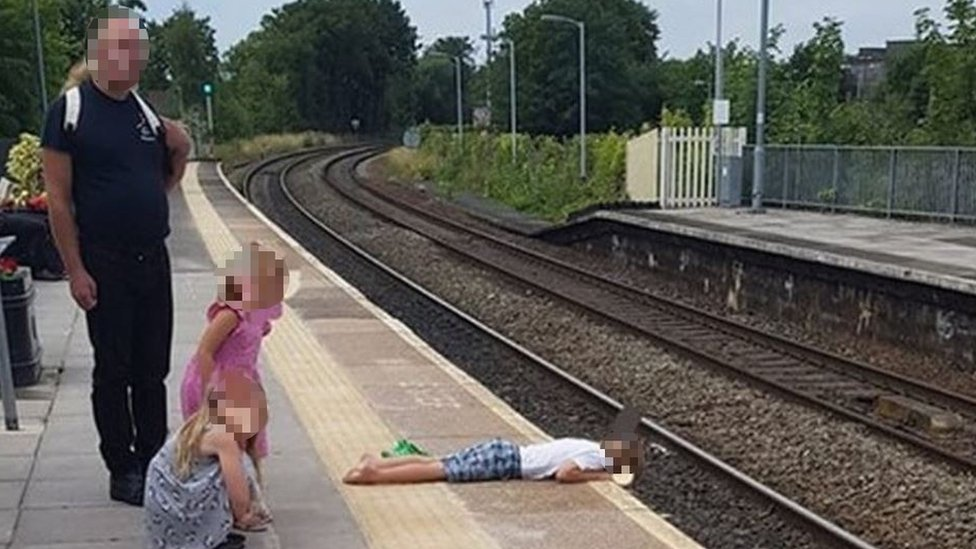 Child seen lying over edge of Trowbridge railway platform