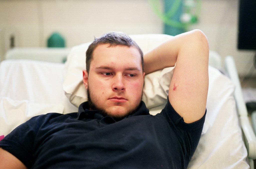Joe awaiting theatre at London's Royal Marsden Hospital