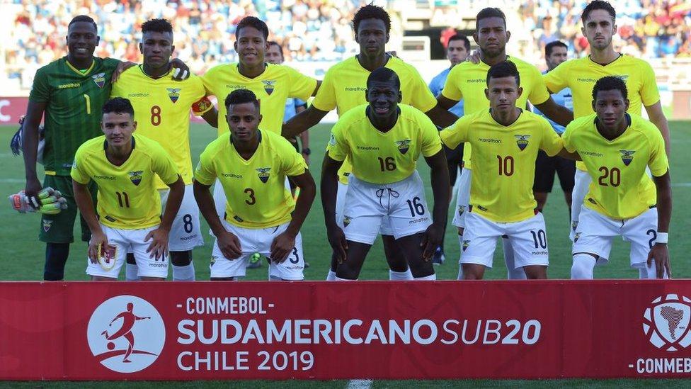 Once inicial de Ecuador en el partido contra Venezuela.