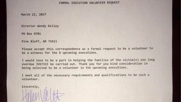 Beth Viele's application letter to serve as a volunteer witness
