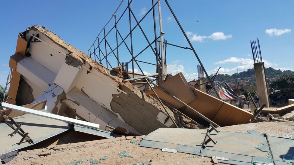 debris following building collapse