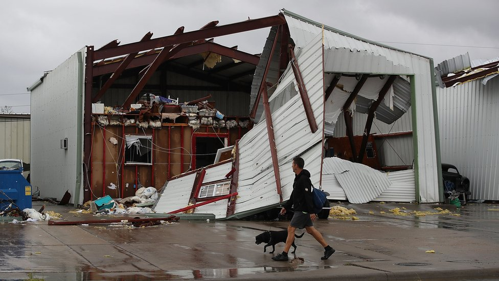 A damaged building is seen after Hurricane Harvey passed through on August 26, 2017 in Rockport, Texas
