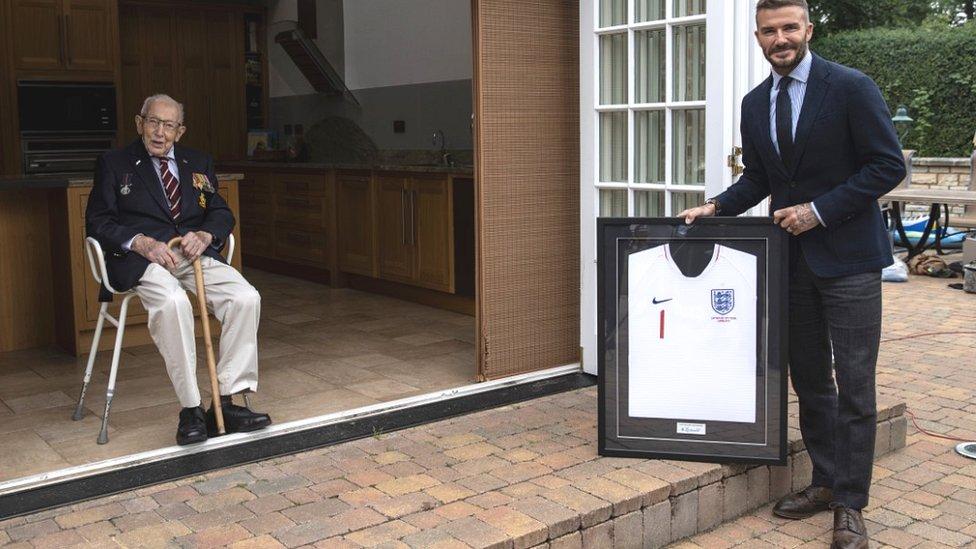 Capt Sir Tom Moore and David Beckham