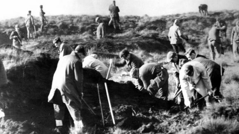 Police search Saddleworth Moor in 1965