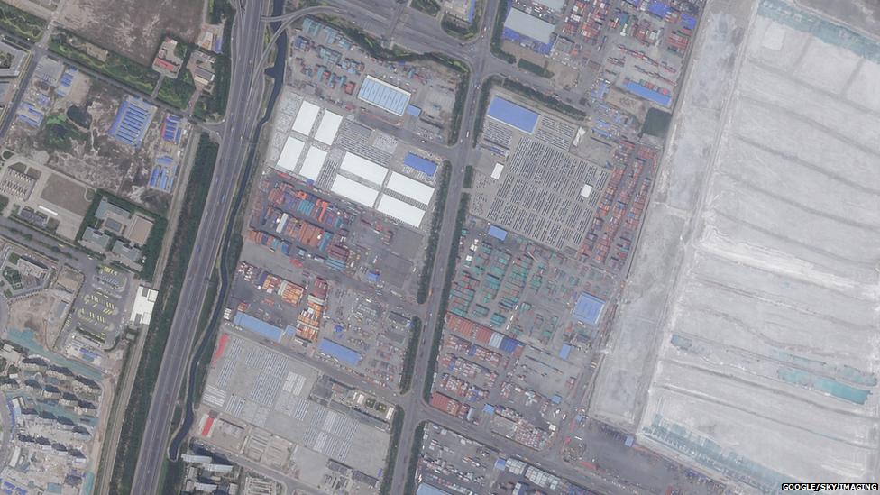 A satellite picture before the blasts