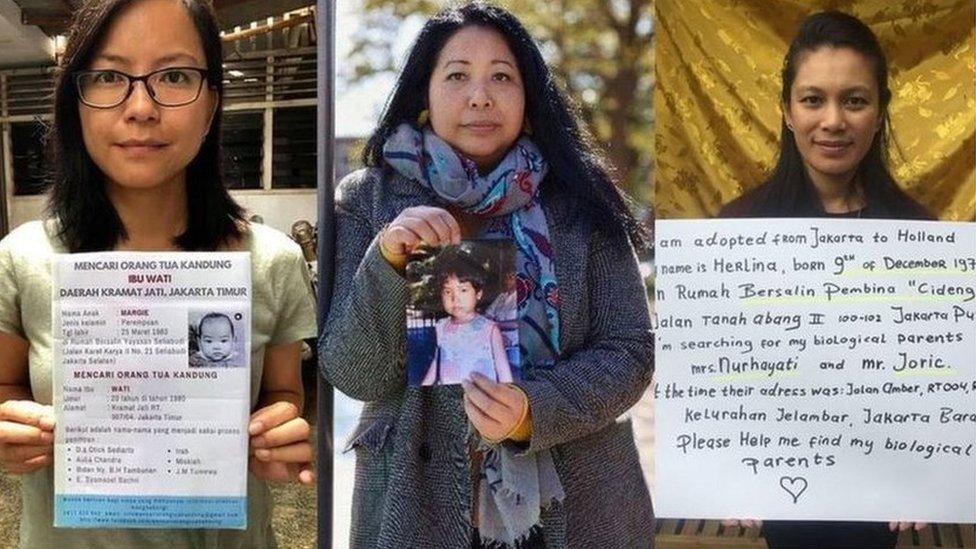 Personas adoptadas en Países Bajos, como Widya Astuti Boerma (en el centro) buscan a sus madres biológicas en Indonesia.