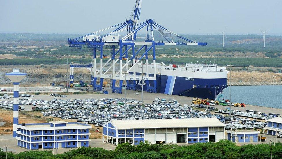 Puerto de Hambantota en Sri Lanka.