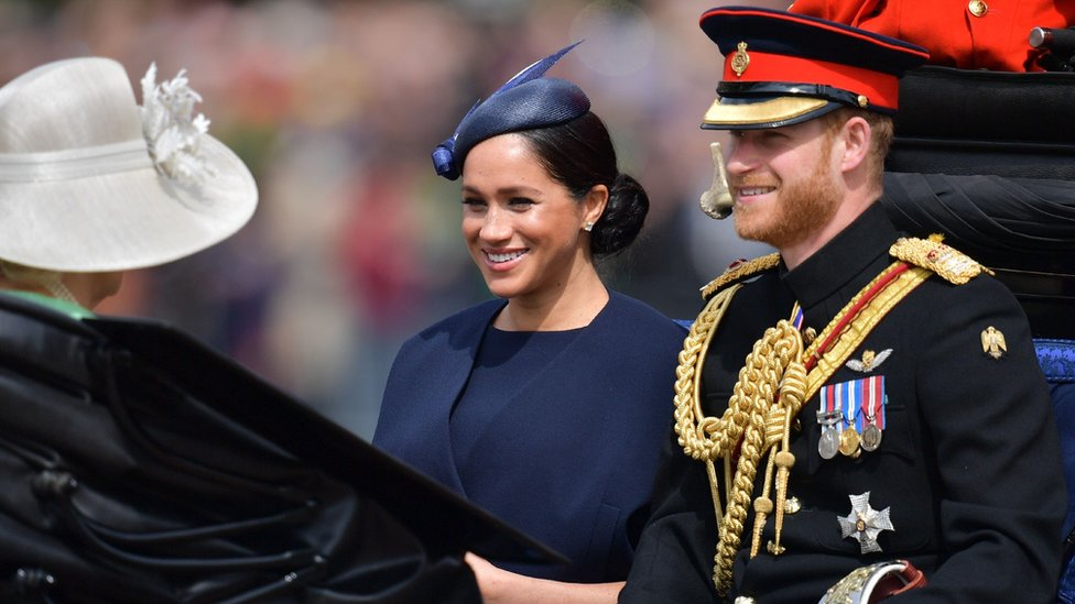 Meghan and Prince Harry arriving at Trooping the Colour