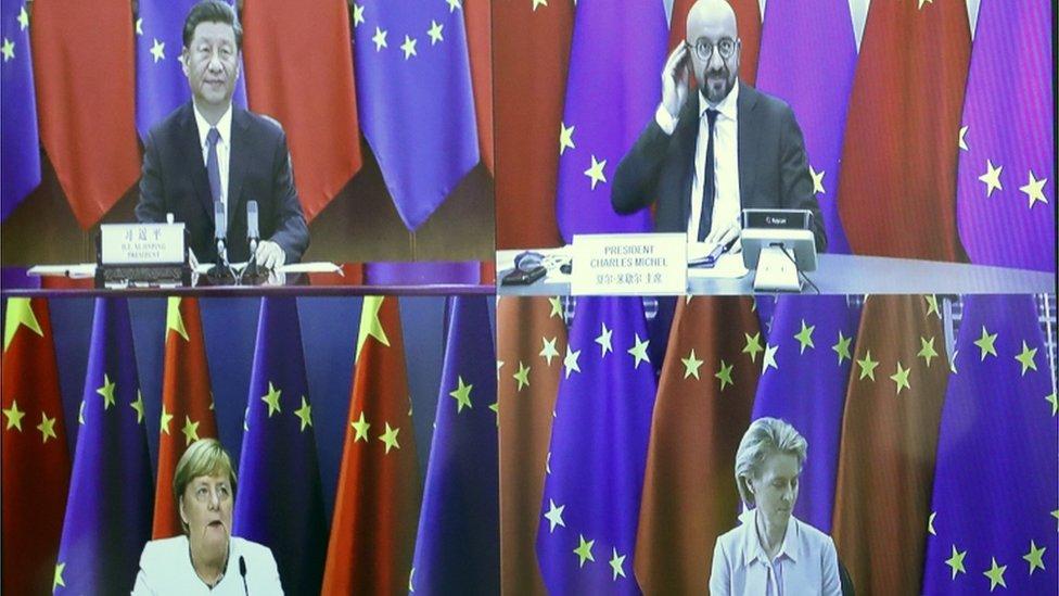 德國政府取消了原定的實體會議,會議日程縮短為1天,且只有習近平、歐盟輪值主席國德國總理默克爾、歐洲理事會主席米歇爾、歐盟委員會主席馮德萊恩四人出席。