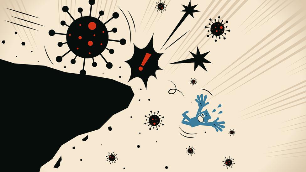 رسم توضيحي يظهر فيروس كورونا وهو يدفع بشخص نحو الهاوية