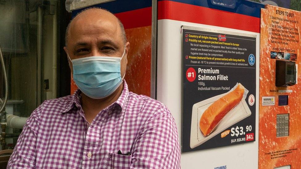 Manish Kumar with Norwegian Salmon ATM.