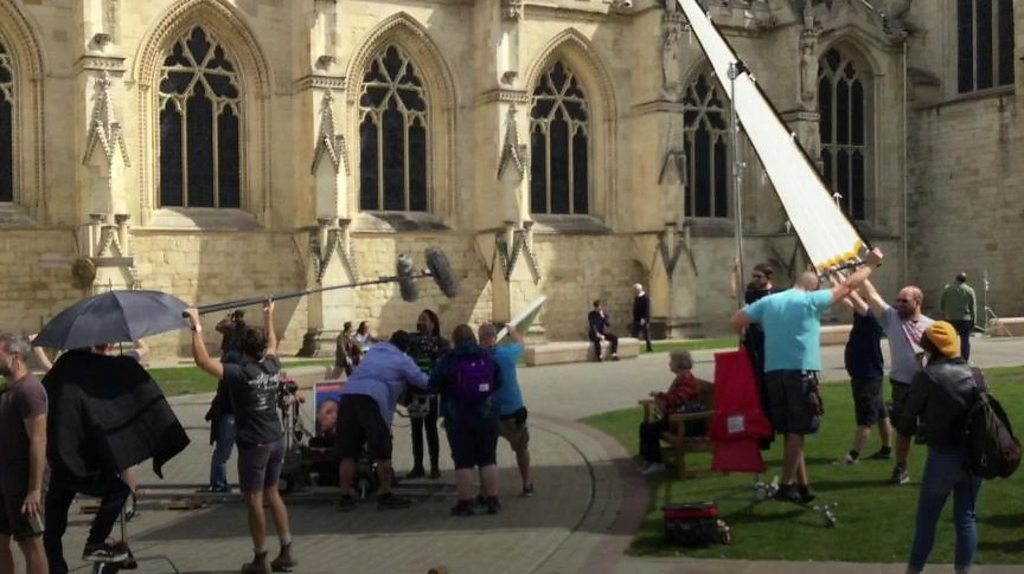 Fans watch Doctor Who filming in Gloucester city centre