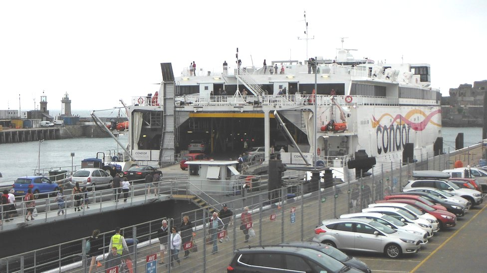 Condor Liberation loading in St Peter Port Harbour