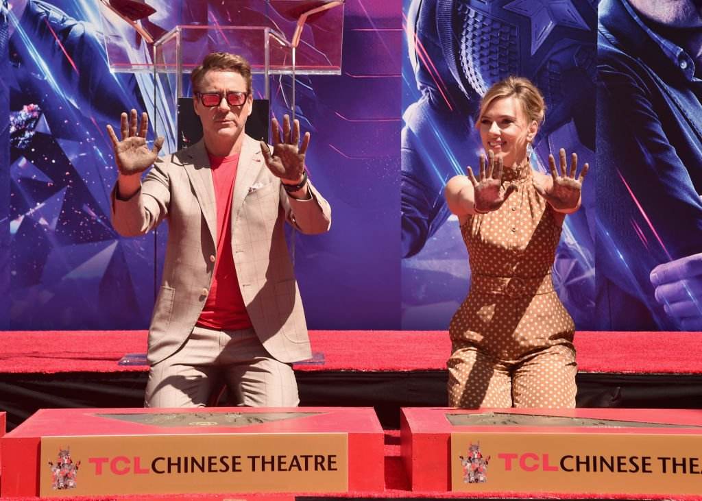 Robert Downey Junior and Scarlett Johansson take part in a ceremony in Shanghai