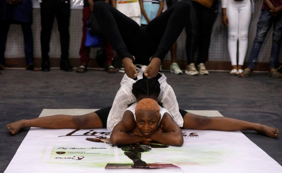 Ifeoma Amazobi, 22, performs at a show called Limberness in Lagos, Nigeria, 1 February 2020