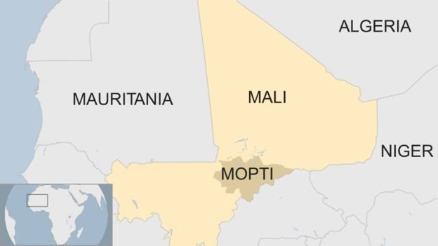 A map showing the location of Mali and Mopti, where the killings took place