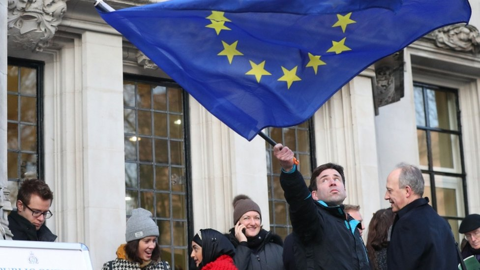 An EU flag outside the Supreme Court