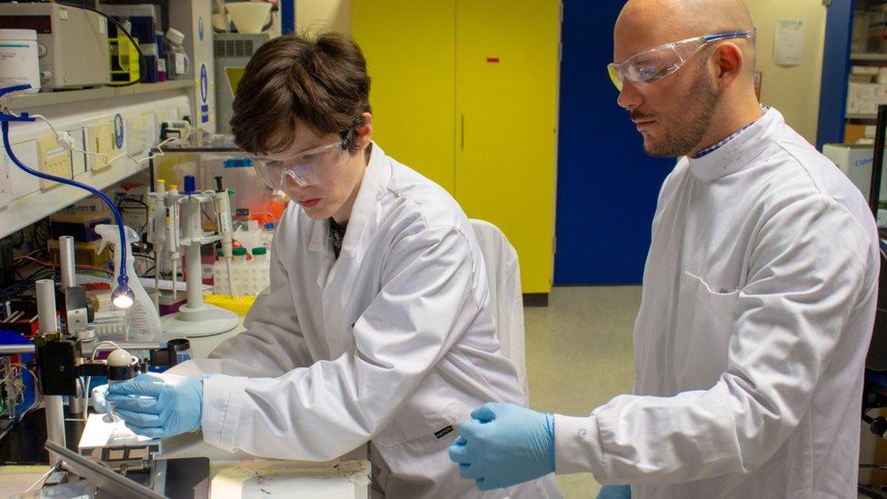 Dr Maiwenn Kersaudy-Kerhoas and Alfredo Ongaro working in the lab with PLA.jpg