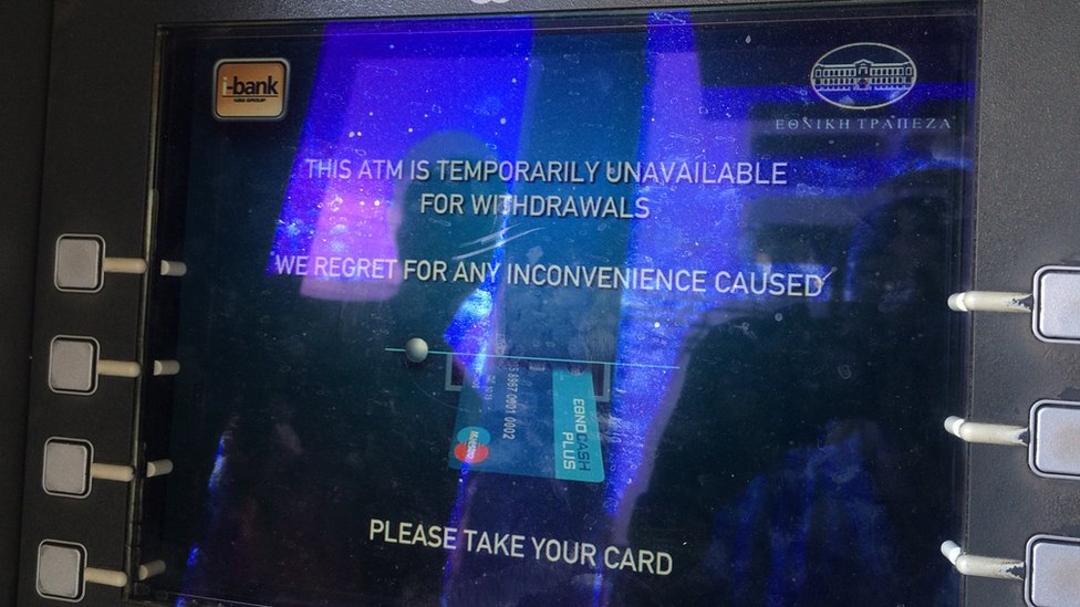 Athens cash machine refusing withdrawals on Sunday 28 June 2015