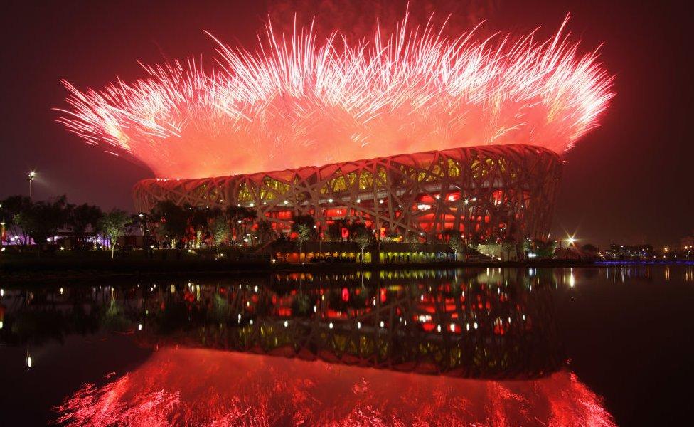 """Inauguración de los JJOO de Pekín, vista del """"nido de pájaro"""", el estado de la capital china donde se celebraron gran parte de los juegos."""